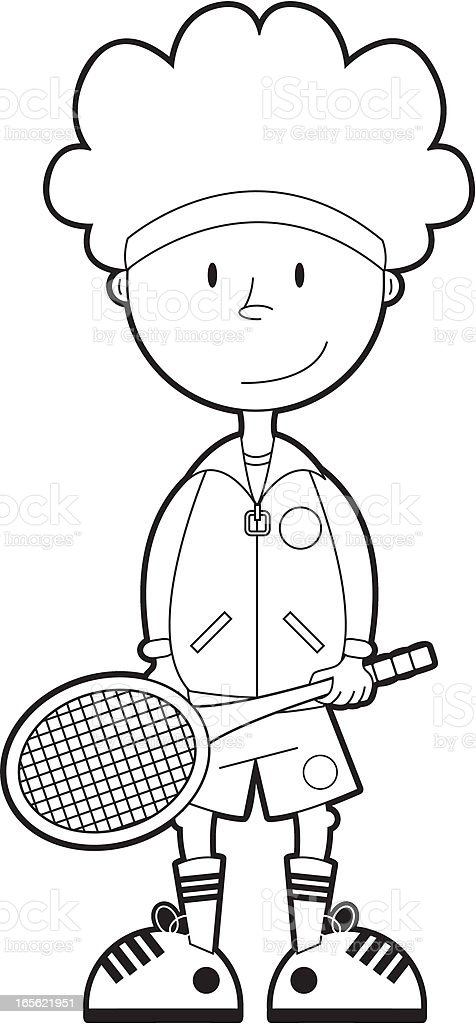 Colour In Tennis Boy Stock Vector Art & More Images of All England ...