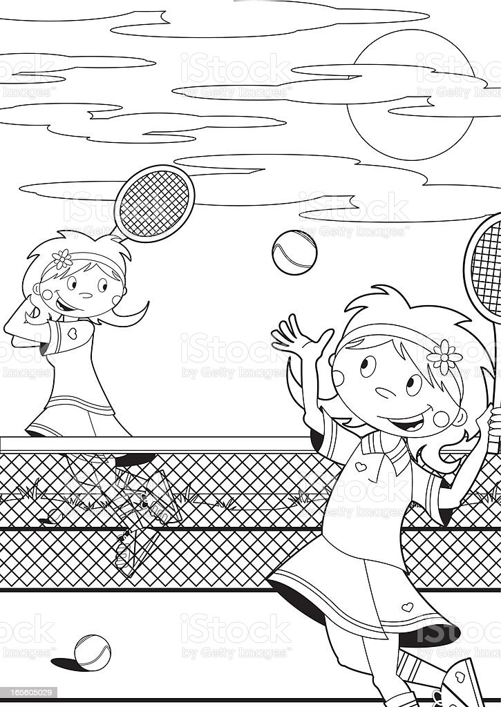 Colour In Tennis Girls on Court royalty-free stock vector art