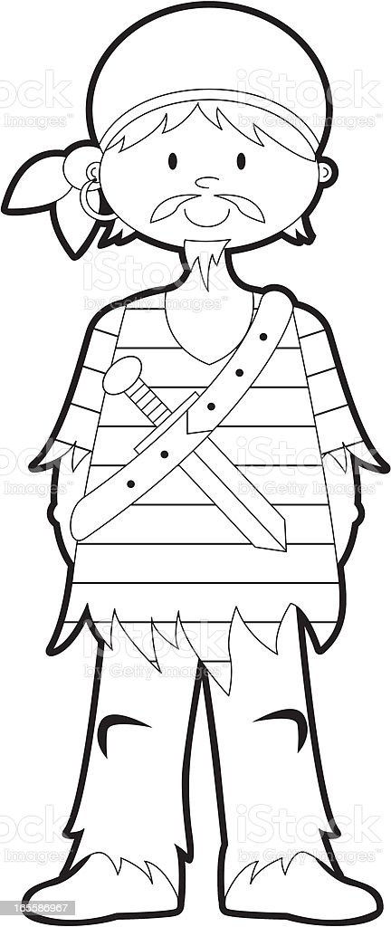 colour it in pirate boy template stock vector art more images of
