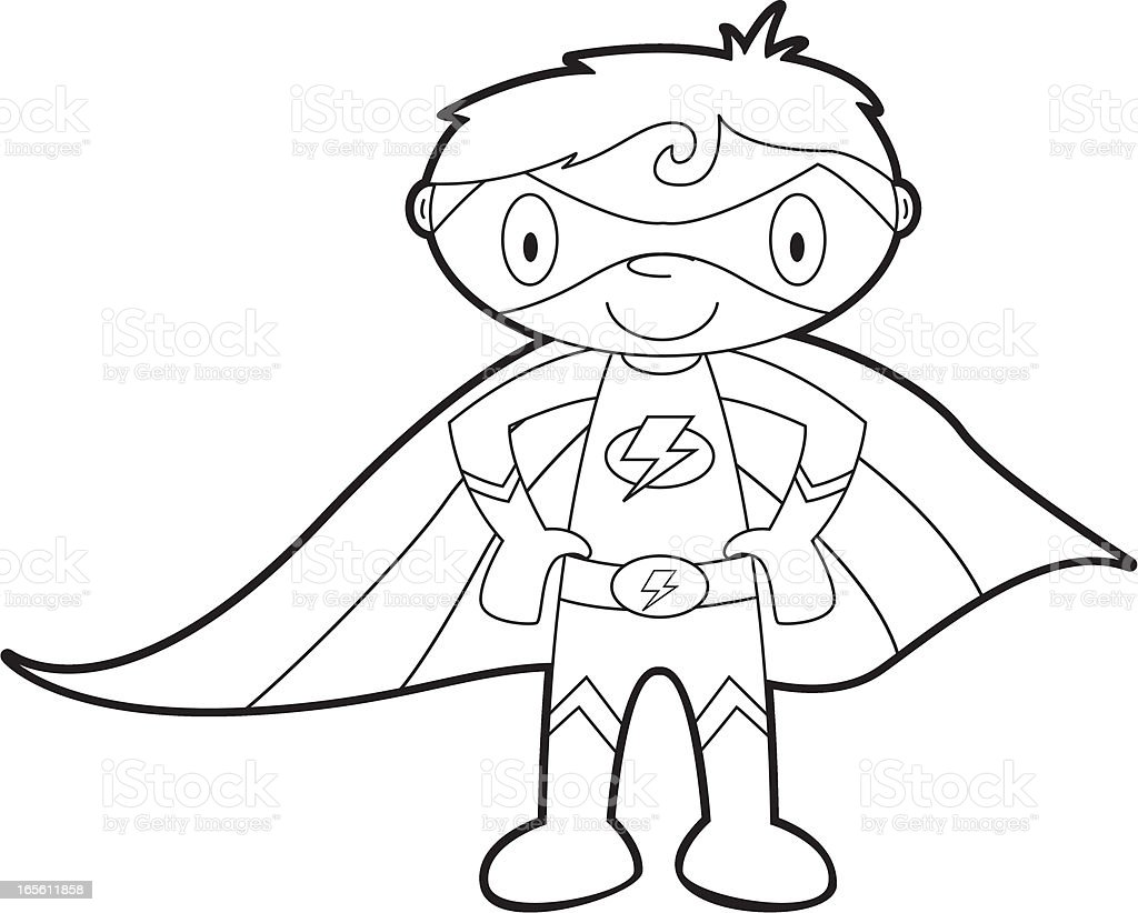 Colour It In Super Boy Template Royalty Free Stock Vector Art