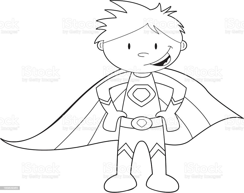 colour it in super hero template stock vector art more images of