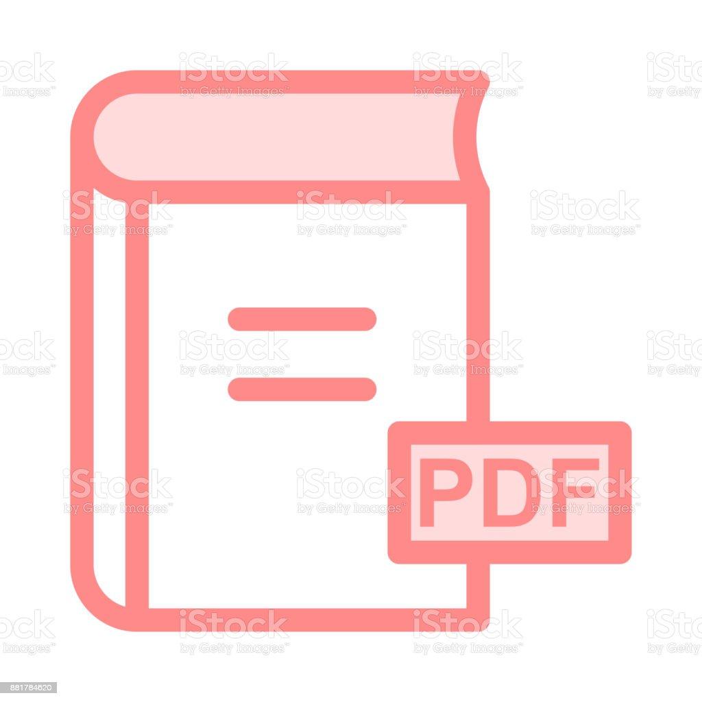PDF colour line vector icon vector art illustration