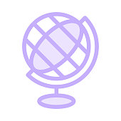 GLOBE colour line vector icon