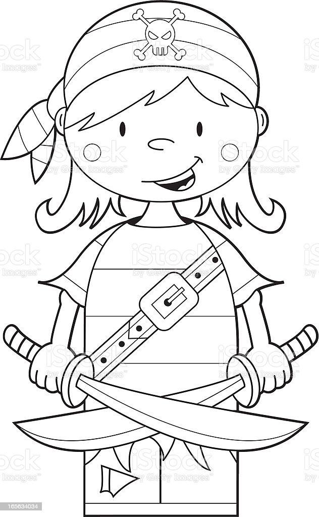 Farbe Mich Piraten Mädchen Mit Schwerter Stock Vektor Art und mehr ...