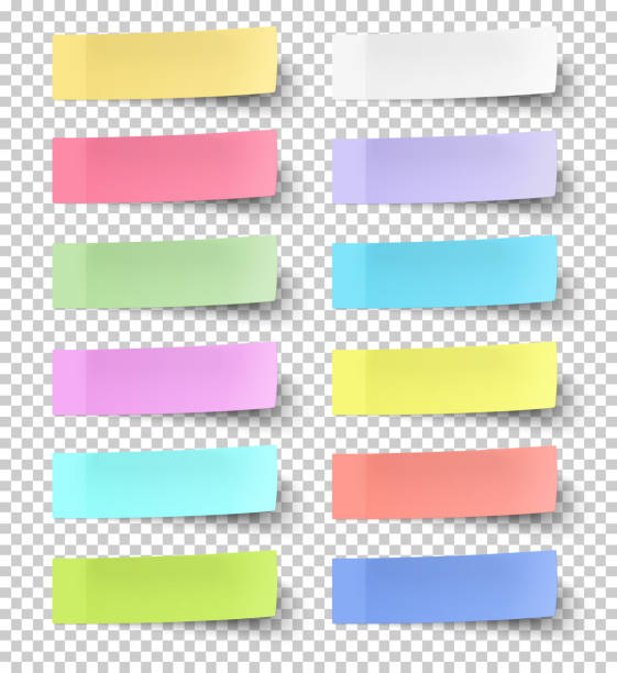 colour sticky notes isolated on transparent background - post it notes stock illustrations