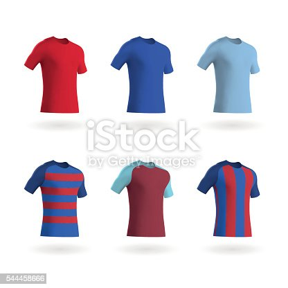 Vector illustrations of modern football shirts / fitted t shirts in a variety of colours and styles. Included are three blank coloured shirts, one shirt with contrasting sleeves, and variations with horizontal and vertical stripes on the chest. These shirts are easy to colour and customise to suit your needs and the eps file is fully scalable without any loss of quality.