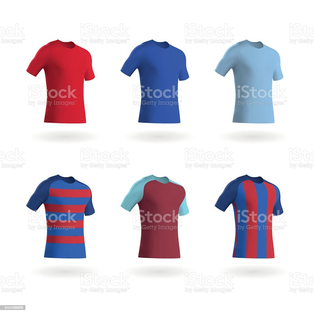 Coloured Football Shirts / Soccer Shirts / Fitted T-Shirts vector art illustration