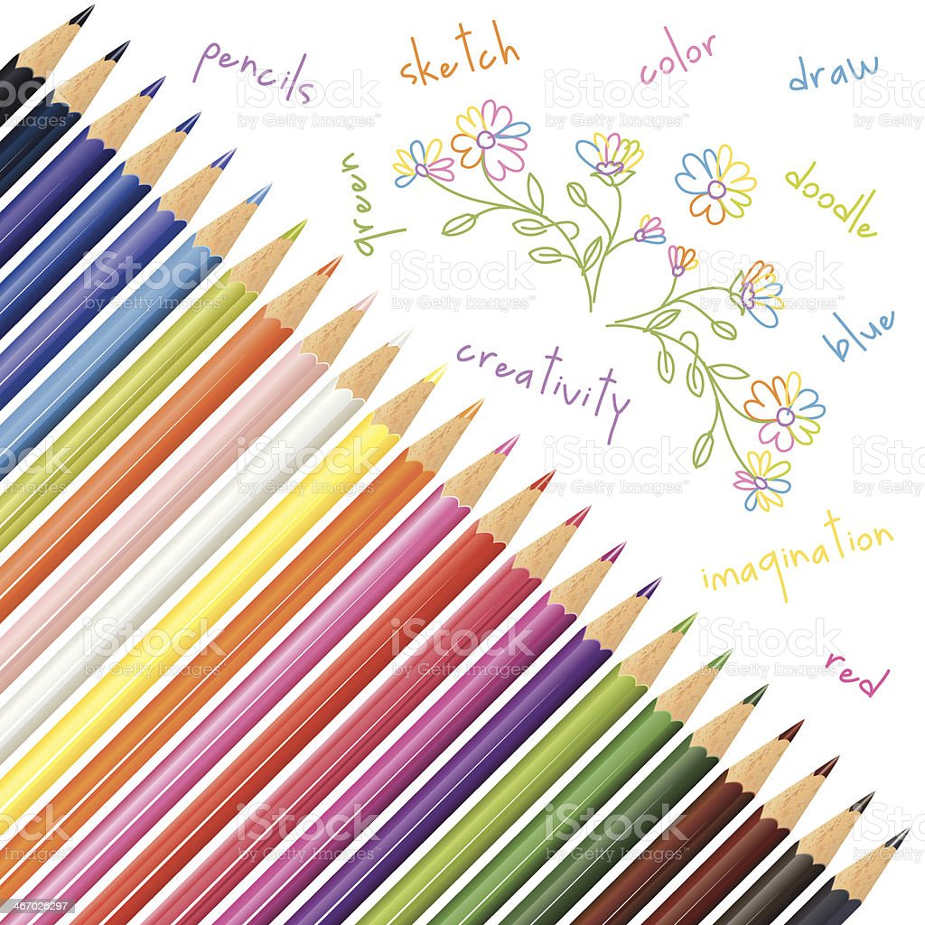 Coloured pencils And Doodled Art vector art illustration