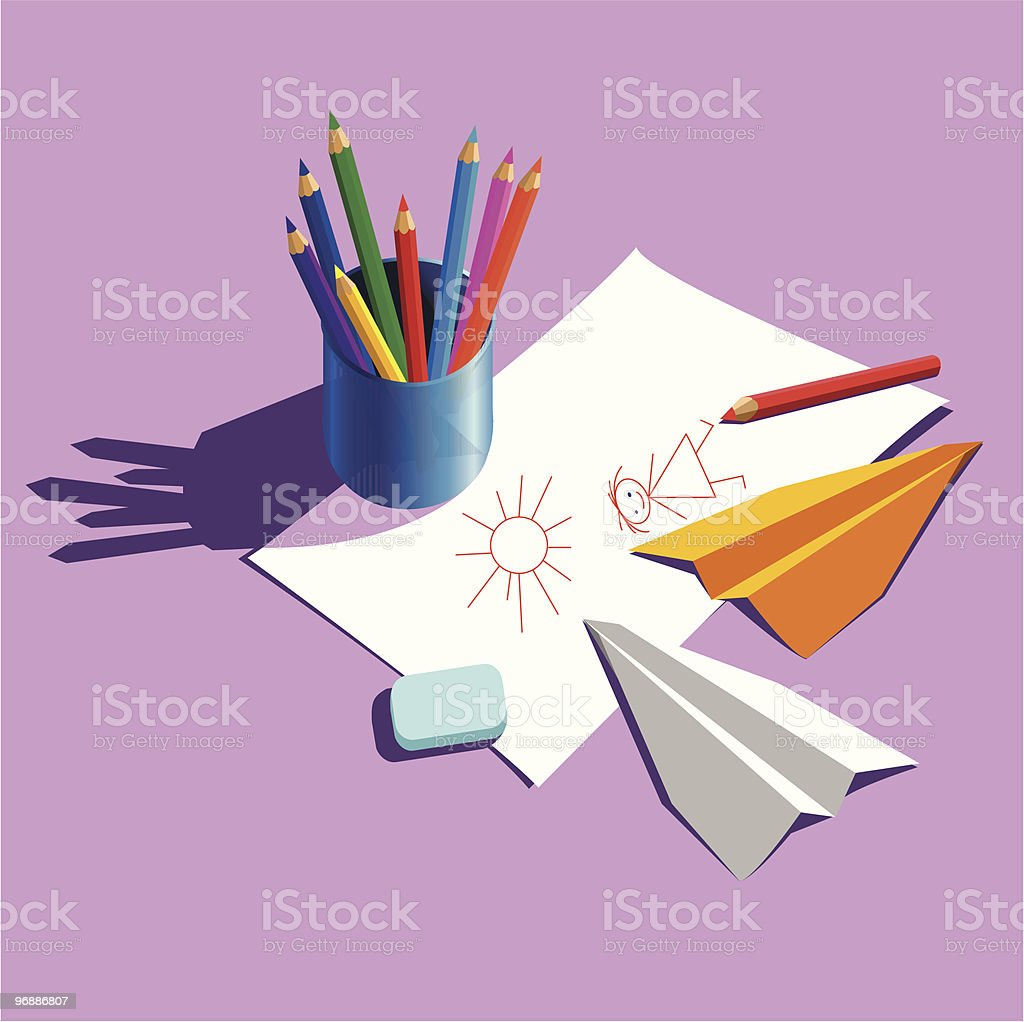 coloured pencils royalty-free stock vector art