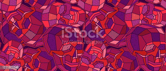 Coloured skull polygon seamless pattern. Geometric background.