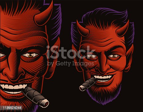Coloured  vector illustration of a devil's face smoking a cigar on a dark background. Ideal for T-shirt design
