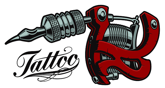 Coloured vector illustration of a tattoo machine