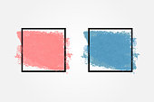 Coloured watercolor background with square frame for text. Grunge, ink, paint. Pink and blue smear.