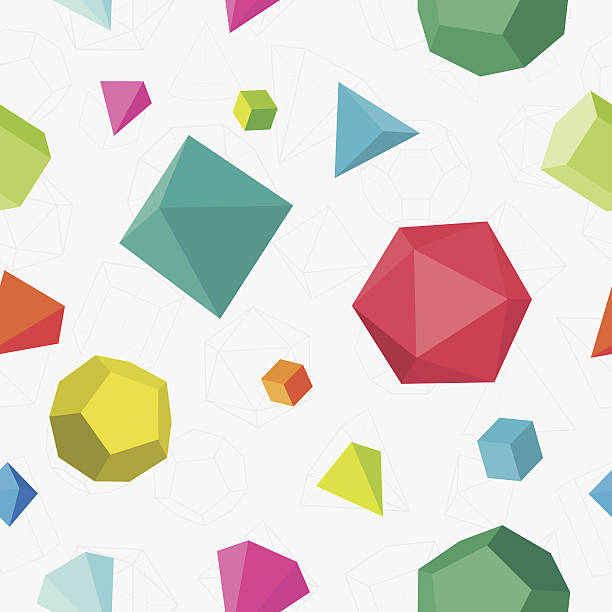 Colourful 3D solids seamless pattern vector art illustration