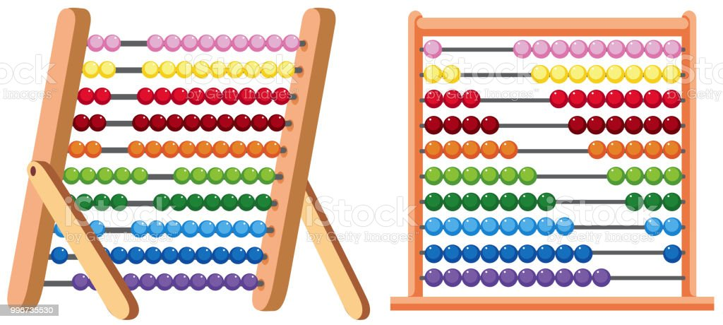 A Colourful Abacus on White Background vector art illustration