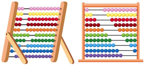 bildbanksillustrationer, clip art samt tecknat material och ikoner med en färgglad abacus på vit bakgrund - abakus