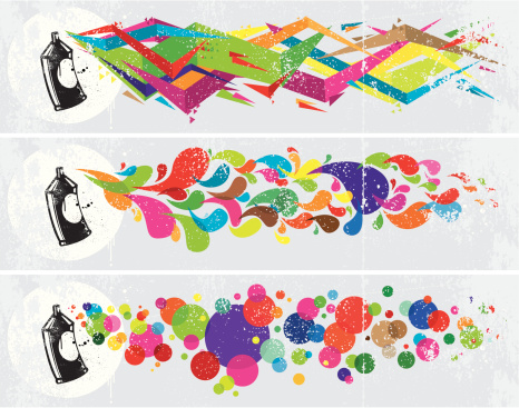 Colourful abstract graffiti banners