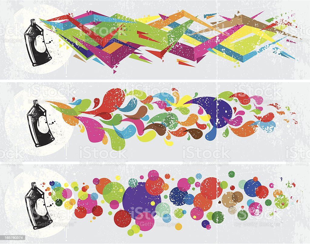 Colourful abstract graffiti banners vector art illustration