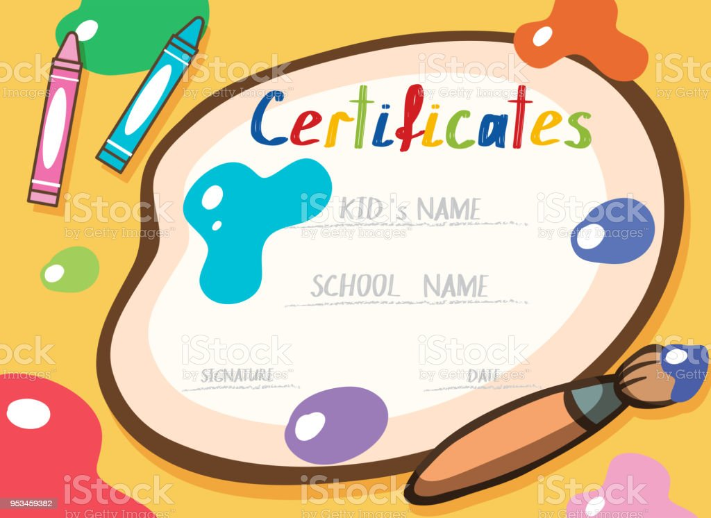 A Colourful Art Certificate Template Stock Vector Art More Images