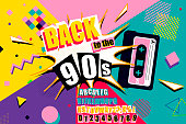 istock Colourful back to the 90s poster design 1195651323