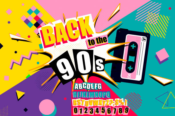 Colourful back to the 90s poster design Colourful back to the 90s poster design with burst effect, old audio cassette tape, alphabet and numbers on a vivid geometric background, vector illustration alphabet patterns stock illustrations
