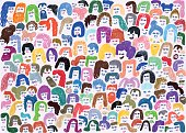 Creative illustration of people faces and hair