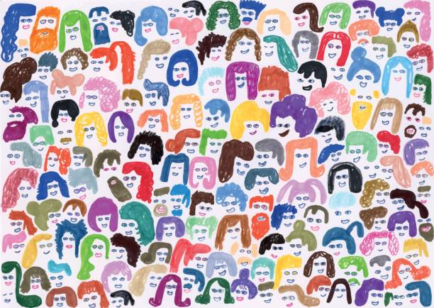 Colourful background pattern of crowd of people Creative illustration of people faces and hair community drawings stock illustrations