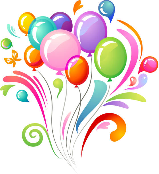 colourful background with balloons - get well soon stock illustrations, clip art, cartoons, & icons