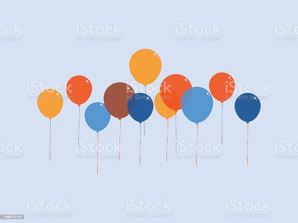 Colourful balloon floating in the air vector art illustration