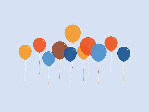 Colourful balloon floating in the air - Illustration vectorielle