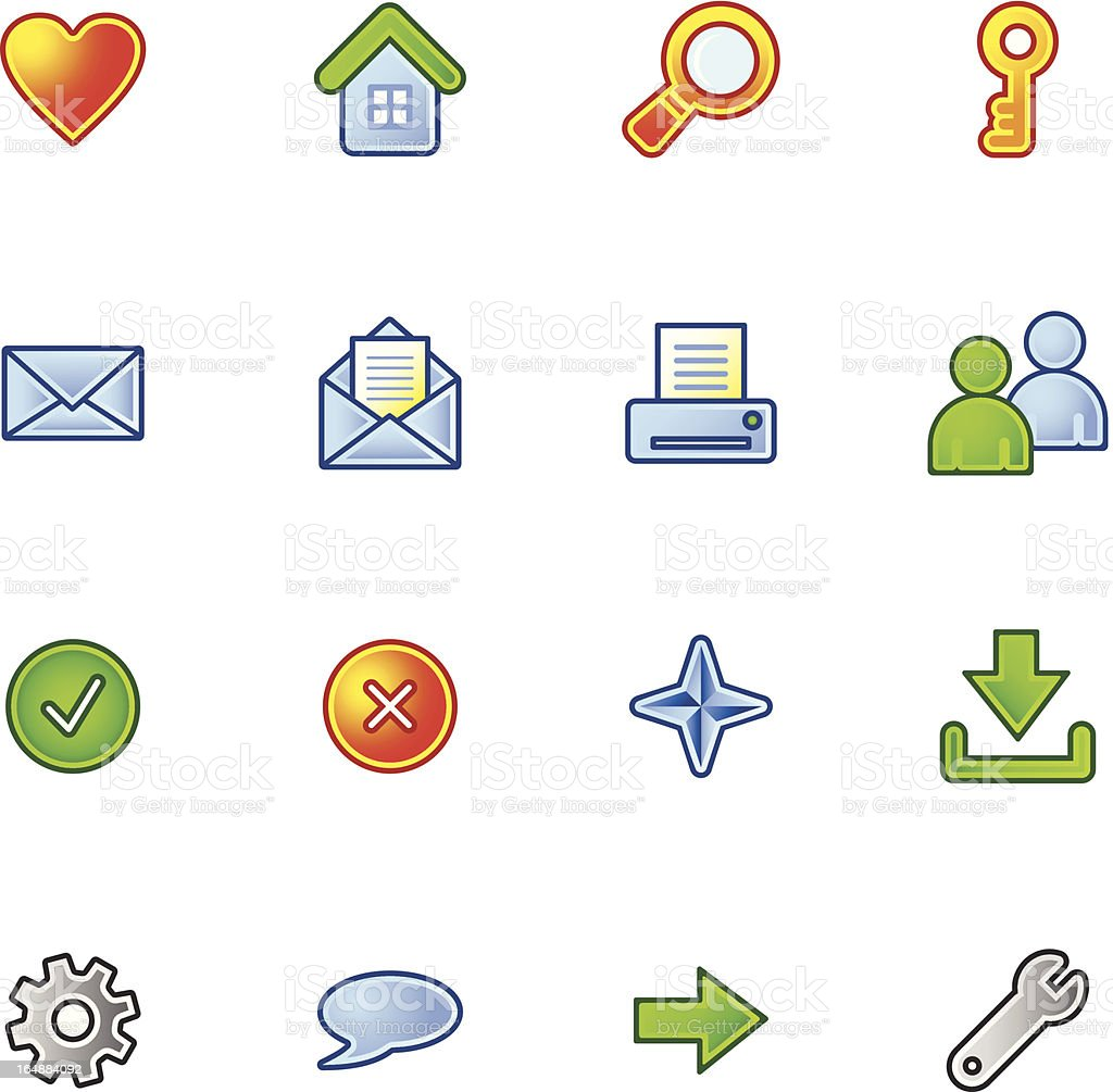 colourful basic web icons royalty-free stock vector art
