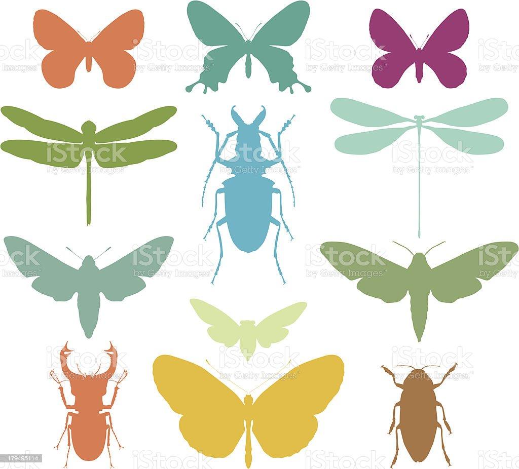 Colourful bug silhouettes vector art illustration