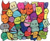 Colourful background of cute zany character faces.  Disorderly youth, monster loony halloween party!