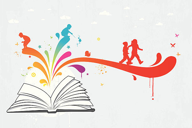 Colourful children book Colourful children book graffiti with children, vector illustration. Drops and grunge elements are grouped. Can be separated. Simple gradient was used. Included files are Aics3 and Hi-res jpg.  book silhouettes stock illustrations