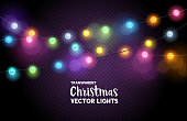 A collection of colourful Christmas fairy lights. Vector illustration.