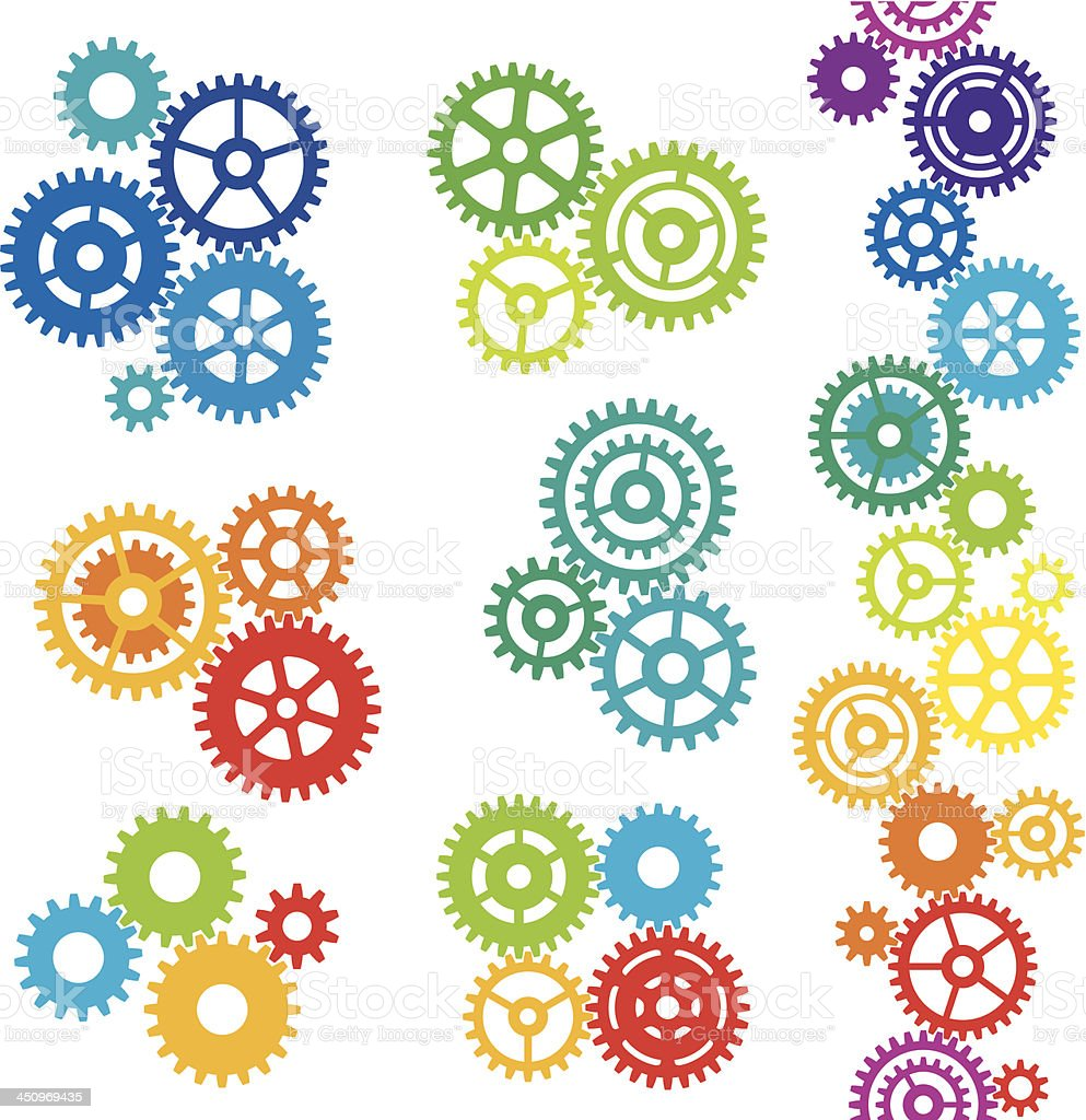 Colourful cogs vector art illustration