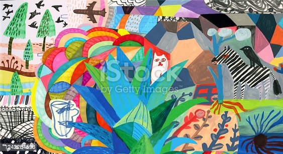 istock Colourful collage with colourful patterns, plants, animals and human 1242284596