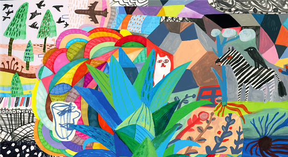 Colourful collage with colourful patterns, plants, animals and human