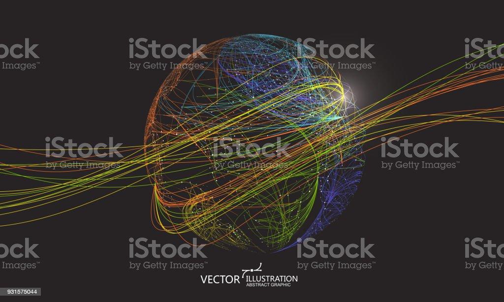 カラフルな曲線は、球、抽象的なグラフィック デザインで構成されます。 ロイヤリティフリーカラフルな曲線は球抽象的なグラフィック デザインで構成されます - つながりのベクターアート素材や画像を多数ご用意