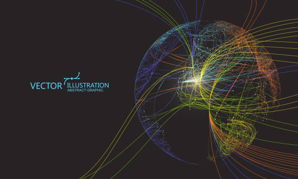 Bunte Kurve bestehend aus einer Kugel, abstrakte Grafik-Design. – Vektorgrafik