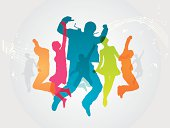 Colourful dance party. Silhouettes and musical notes are on different layers. Can be separated. Simple gradient was used. Included files; Aics3 and Hi-res jpg.