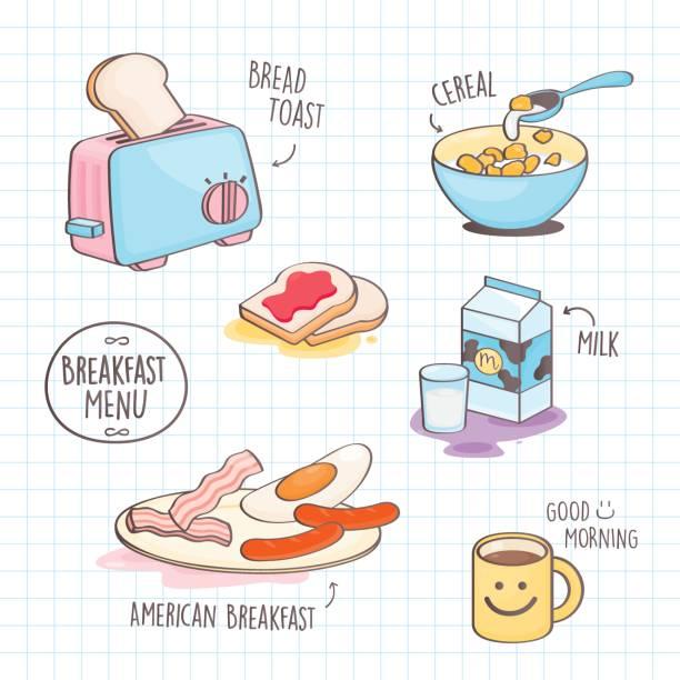 illustrazioni stock, clip art, cartoni animati e icone di tendenza di colourful doodle style breakfast. - corn flakes