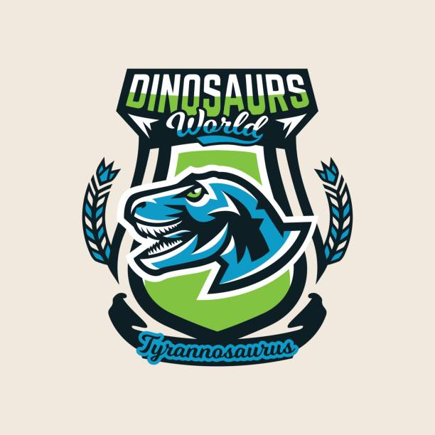 Colourful emblem, icon, label the dinosaur of the Jurassic period of the Mesozoic era is isolated on a background of the shield. Vector illustration. vector art illustration