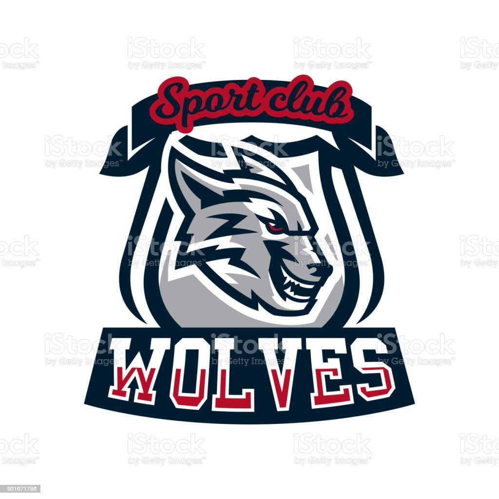 Ilustración de colorido emblema icono etiqueta engomada listo para el ataque grin rugido depredador agresivo lobo ilustración de vector estilo deportivo