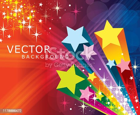A vector illustration to show exploding star in a blurred motion backgrounds