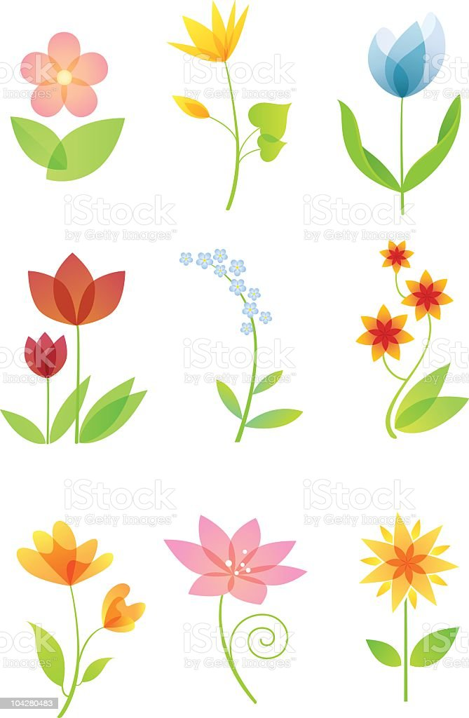 Colourful Flowers Set royalty-free stock vector art
