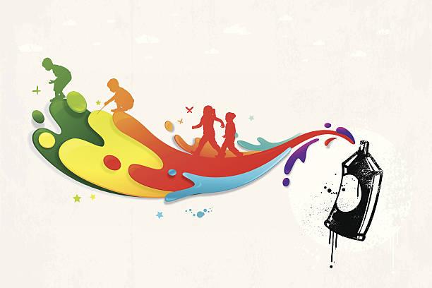 bunte graffiti mit farbspritzern und kinder silhouetten - kindersprüche stock-grafiken, -clipart, -cartoons und -symbole