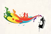 Colourful graffiti with paint splatters and children silhouettes
