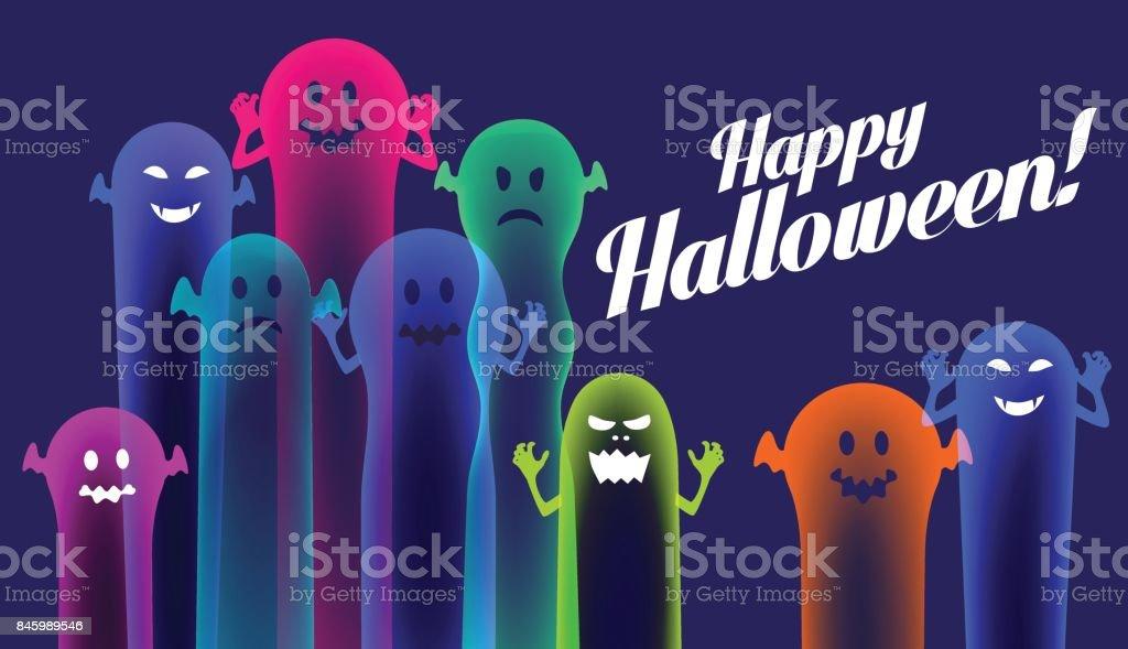 Colourful Halloween Ghosts vector art illustration