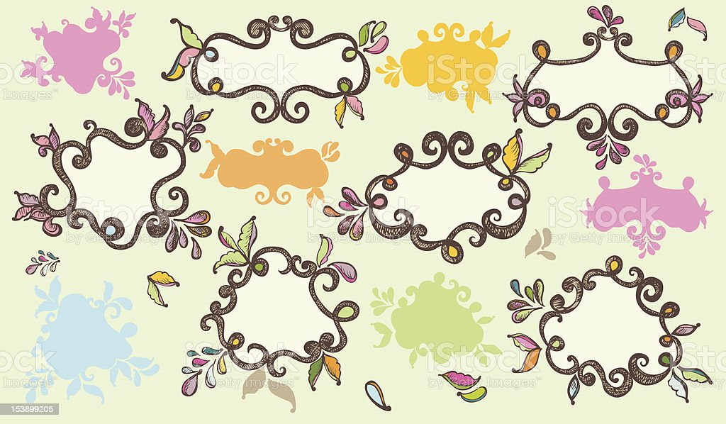 Colourful hand drawn labels royalty-free stock vector art
